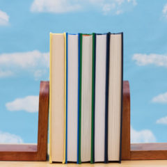 A stack of book between book end with a sky background Learning